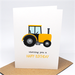 Birthday Boy Card - Happy Birthday - Yellow and Black Tractor - HBC217