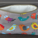 Bird Print make up bag , accessory bag, phone pouch, purse