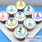 "Princess Personalised Edible Icing Cupcake Toppers - 2"" - PRE-CUT"
