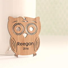 Custom Christmas decoration ornament bamboo personalised owl 1st first christmas