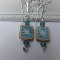 White and Aqua Picasso Czech Earrings with Crystal Rondelles on silver hooks