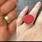 Bold red glitter statement ring