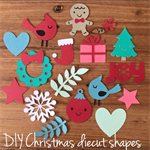 Diecut Christmas shapes for tags, cards or gift wrapping. gift tag, die cut xmas