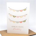 Birthday Card Girl - Girls Peach and Pink Bunting - HBC216