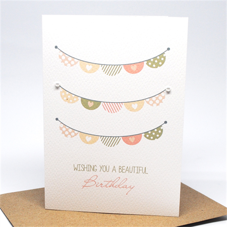 Birthday Card Girl - Girls Peach and Pink Bunting - HBC216