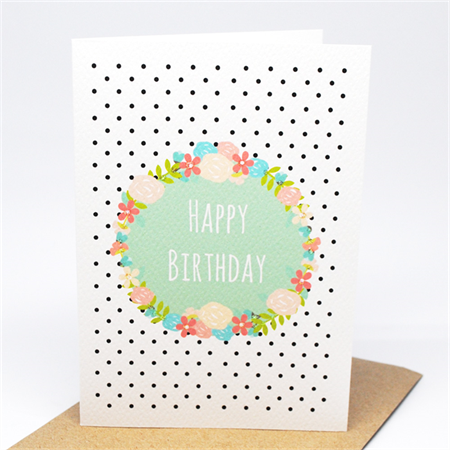 Birthday Card Female - Floral Birthday Wreath - HBF169