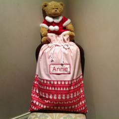 Personalised Santa Sack in vintage style fabric.