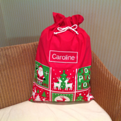 Personalised Santa Sack in Red, Green and White 'Merry Christmas' Fabric