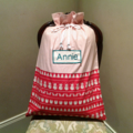 Personalised Santa Sack in vintage style fabric.