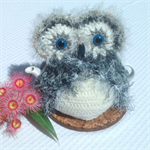 Owl  teapot cozy for small to medium pot in light & medium grey