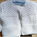 White baby Jacket size 1-2 yrs in soft 8 ply acrylic