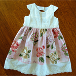 Tea Party Dress. Size 3 -6 months. Broderie Anglaise and Swiss cotton lace.  .