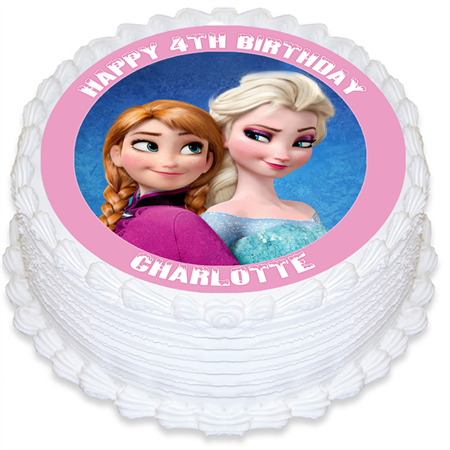 Frozen Personalised Edible Round Cake Topper - PRE-CUT