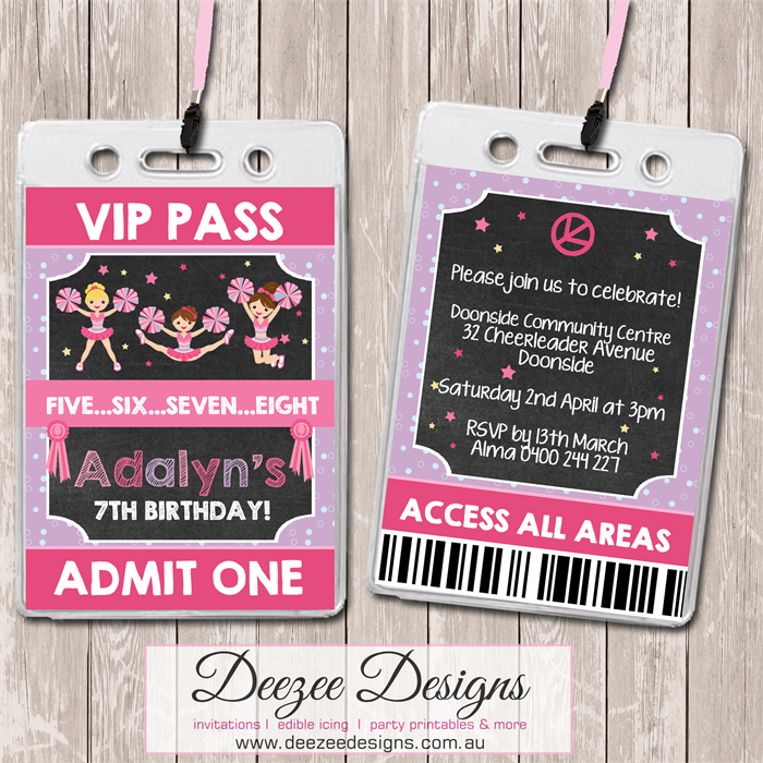 Cheerleader Personalised VIP Lanyard Invitations x 10 Deezee