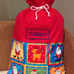 Personalised Santa Sack in Red and 'Ho Ho Ho' Fabric