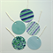 Set of 5 assorted round gift tags with strings - blue and green