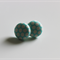 1.5cm Covered Button Earrings - Pale Blue with White Spots