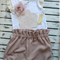 Girls Vintage Inspired Britches / Bloomers and Singlet Set - Pink Size 2