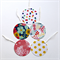 Set of 5 assorted round gift tags with strings - flowers and polka dots