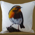 Cushion Cover, Robin, Bird, Wildlife, Colourful Throw Pillow, Decorative,