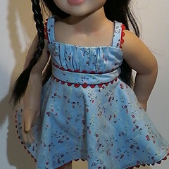 Summer Frock - Blue floral with red trim