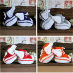 Knit Baby Booties Angel Wings Hi Tops Orange White Toddler Shoes Baby Shower