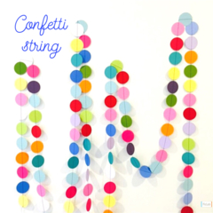 Confetti rainbow party paper string garland decoration 2 metres