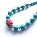 Frida chunky statement necklace turquoise, red and antique silver
