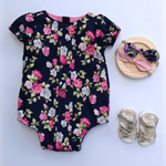 Size 2 - Milly Navy Floral Pleatie Romper Playsuit, baby, girl, toddler