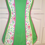 Ladies apron green & floral panels size 10-12