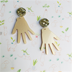 High Five Hand Dangles - Gold Earrings