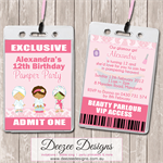 Pamper Spa Party Personalised VIP Lanyard Birthday Invitations x 10