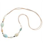 Long Amazonite gemstone necklace on suede