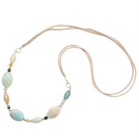 Long Amazonite gemstone necklace on suede