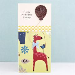 Handmade Personalised Name Day Card, Naming Day Card, Giraffe Boy Girl