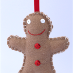 Christmas Ornament / Gingerbread Man / Felt / Hand Sewn