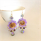 shabby rose chandelier earrings, Swarovski crystal earrings