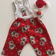 "New Born Harem Pants and Appliqued Singlet in ""Koala Xmas"""