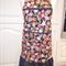Ladies floral apron medium size with black & white flounce & trim