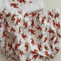 """Size 1 to 3 mths & 6 mths Nappy Pants and Appliqued Singlet in """"Xmas Reindeers"""""""