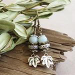 "Bohemian ""Minty Leaves"" Chic Gypsy Rustic Amazonite Spring Dangle Earrings Gift"
