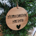 Personalised Wood Christmas Decoration / Ornament for Teacher
