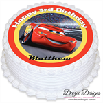 Cars Lightning McQueen Personalised Round Edible Cake Topper - PRE-CUT