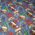 Personalised Dog fabric Santa Sack in Blue Christmas Fabric with name
