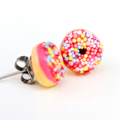 Donut studs - Strawberry (hot pink) iced donut stud earrings - with sprinkles