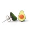 Avocado studs - miniature avocado polymer clay earrings - Fruit studs - Half avo