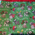 Personalised Santa Sack in Green Christmas Dog Fabric with name