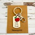 Handmade Teacher Gift - Personalised Teacher Gift - Hand Stamped Keyring