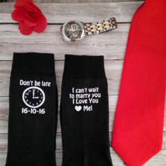don't be late;groom socks; personalised wedding socks;wedding socks; groom gift