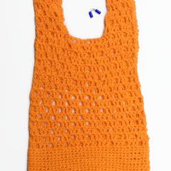 Crochet tank top women's orange tee shirt knitwear summer beach cover up top